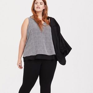 TORRID Houndstooth Georgette Double Layer Tank
